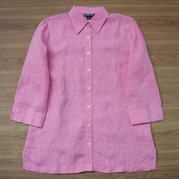 Lands' End 100%Linen Pink Button Up Blouse
